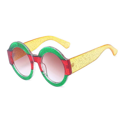Oversize Round Guccy Everything Modern Tri-Color Glitter Sunglasses