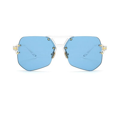 Retro Modern Oversize Flat lens Double Bridge Sunglasses