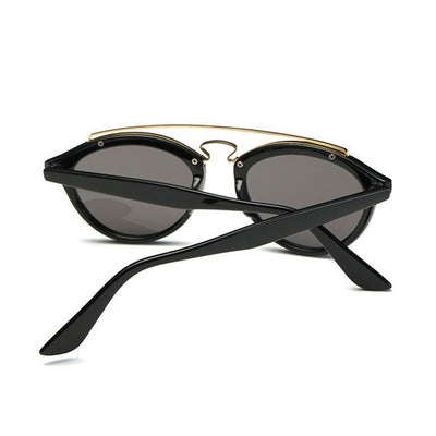 Double Bar Gatsby Frame Aviator Mirrored Lens Sunglasses