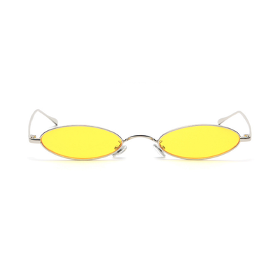 Small Retro 1990's Oval Metal Colorful Lens Sunglasses