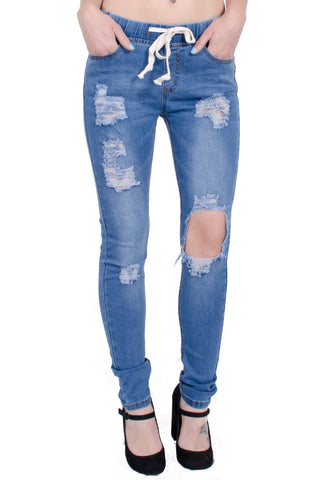 Destroyed Knee Denim Joggers