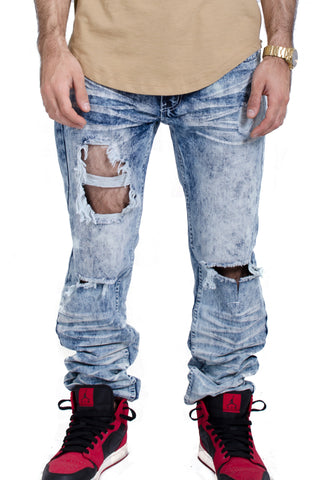 Ripped Knee Jeans in Light Indigo