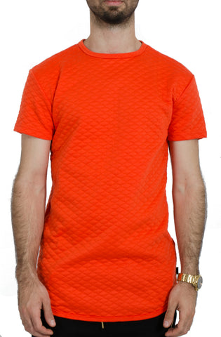 Elongated Quilted Tee in Orange
