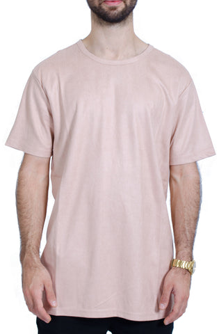 Elongated Wax Suede Tee in Peach