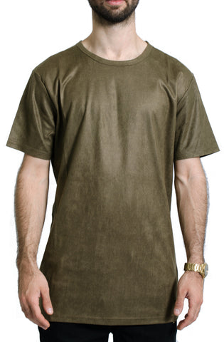 Elongated Wax Suede Tee in Olive