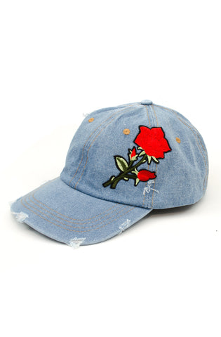 Denim Rose Patch Sports Cap