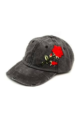 Denim Rose Patch Sports Cap in Black Ice