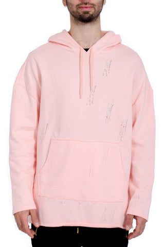 Oversized Distressed Hoodie in Pink