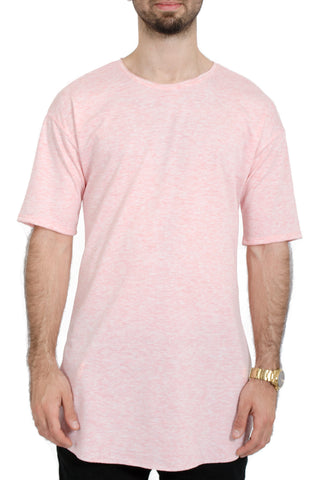 Extra Long Slit Tee in Heather Pink
