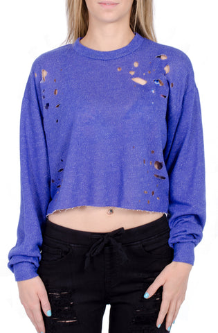 Daphne Distressed Crop Sweater in Blue