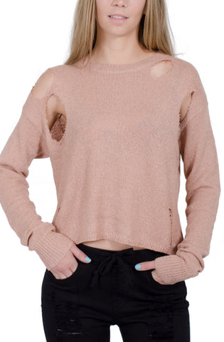 Vintage Distressed Knit Top in Light Mauve