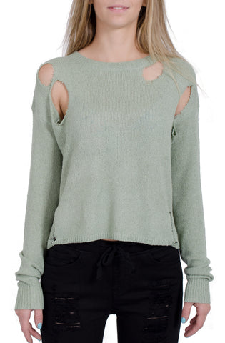 Vintage Distressed Knit Top in Sage Green