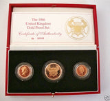 1986 GOLD PROOF THREE COIN SET COLLECTION £2 SOVEREIGN 1/2 HALF SOVEREIGN