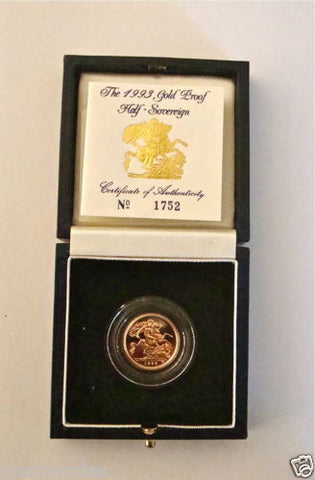 1993 ROYAL MINT ST GEORGE SOLID 22K GOLD PROOF HALF SOVEREIGN COIN BOX COA
