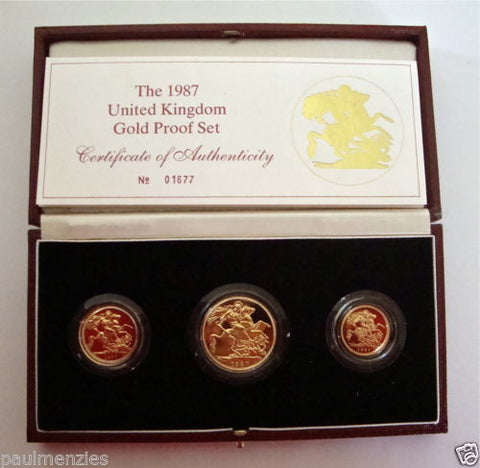 1987 GOLD PROOF THREE COIN SET COLLECTION £2 SOVEREIGN 1/2 HALF SOVEREIGN