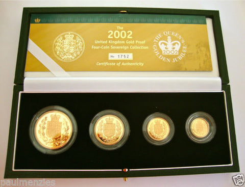 2002 GOLDEN JUBILEE GOLD PROOF FOUR COIN SET £5 £2 SOVEREIGN 1/2 HALF SOVEREIGN