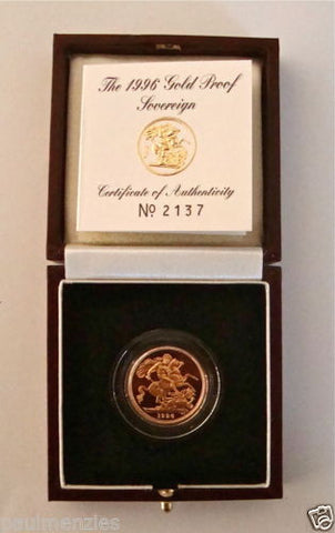 1996 QUEEN ELIZABETH II GOLD FULL PROOF SOVEREIGN with BOX & COA