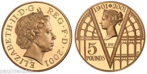 1901 - 2001 QE2 VICTORIA ERA PROOF GOLD FIVE POUND CROWN FDC W/ BOX & COA