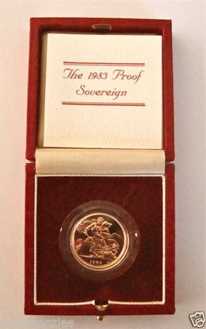 1983 QUEEN ELIZABETH II GOLD FULL PROOF SOVEREIGN with BOX & COA