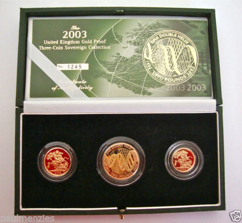 2003 GOLD PROOF THREE COIN SET COLLECTION £2 SOVEREIGN 1/2 HALF SOVEREIGN