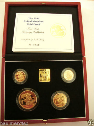 1998 GOLD PROOF FOUR COIN SET £5 £2 SOVEREIGN 1/2 HALF SOVEREIGN