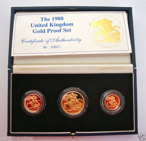 1988 GOLD PROOF THREE COIN SET COLLECTION £2 SOVEREIGN 1/2 HALF SOVEREIGN