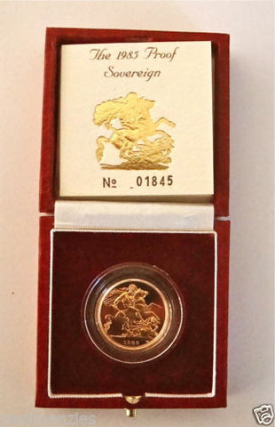 1985 QUEEN ELIZABETH II GOLD FULL PROOF SOVEREIGN with BOX & COA