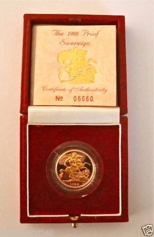 1988 QUEEN ELIZABETH II GOLD FULL PROOF SOVEREIGN with BOX & COA