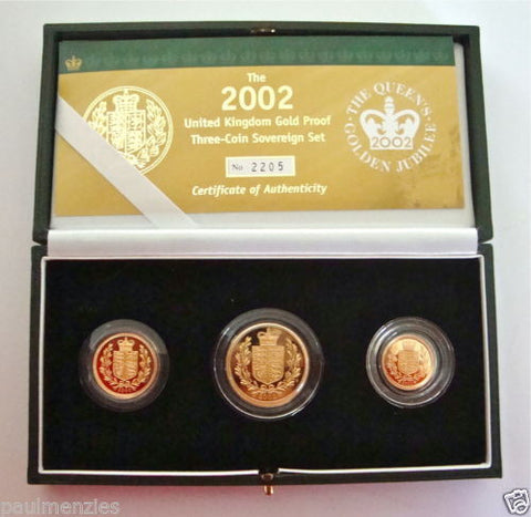 2002 GOLD PROOF THREE COIN SET COLLECTION £2 SOVEREIGN 1/2 HALF SOVEREIGN