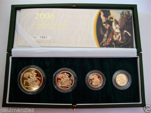 2006 GOLD PROOF FOUR COIN SET £5 £2 SOVEREIGN 1/2 HALF SOVEREIGN