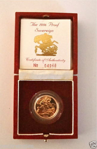 1986 QUEEN ELIZABETH II GOLD FULL PROOF SOVEREIGN with BOX & COA