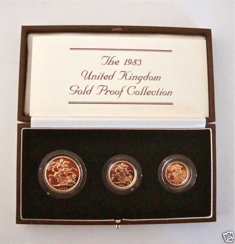 1983 GOLD PROOF THREE COIN SET COLLECTION £2 SOVEREIGN 1/2 HALF SOVEREIGN