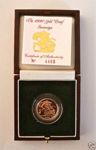 1990 QUEEN ELIZABETH II GOLD FULL PROOF SOVEREIGN with BOX & COA