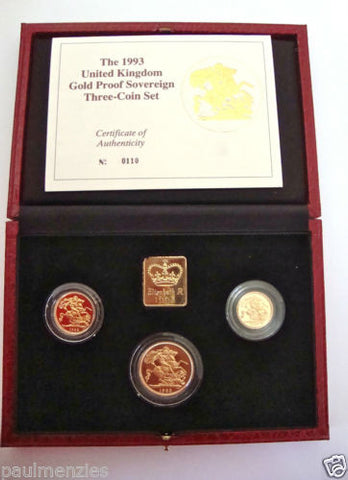 1993 GOLD PROOF THREE COIN SET COLLECTION £2 SOVEREIGN 1/2 HALF SOVEREIGN