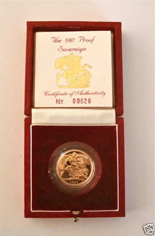 1987 QUEEN ELIZABETH II GOLD FULL PROOF SOVEREIGN with BOX & COA