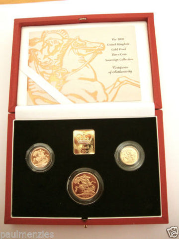 2000 GOLD PROOF THREE COIN SET COLLECTION £2 SOVEREIGN 1/2 HALF SOVEREIGN