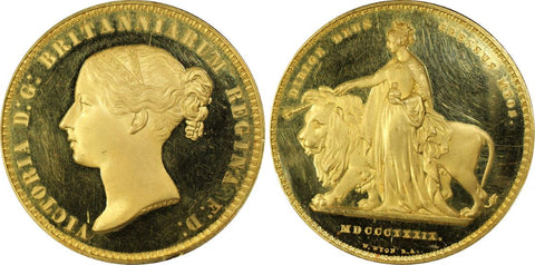Victoria Gold Proof 'Una and the Lion' 5 Pounds 1839 PCGS PR63+ Deep Cameo