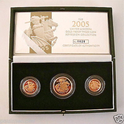 2005 GOLD PROOF THREE COIN SET COLLECTION £2 SOVEREIGN 1/2 HALF SOVEREIGN