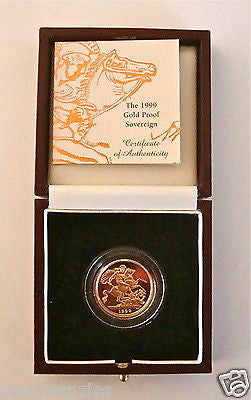 1999 QUEEN ELIZABETH II GOLD FULL PROOF SOVEREIGN with BOX & COA
