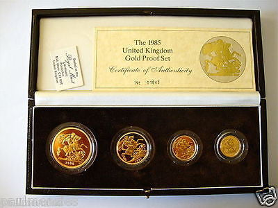 1985 GOLD PROOF FOUR COIN SET £5 £2 SOVEREIGN 1/2 HALF SOVEREIGN