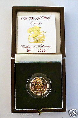 1991 QUEEN ELIZABETH II GOLD FULL PROOF SOVEREIGN with BOX & COA