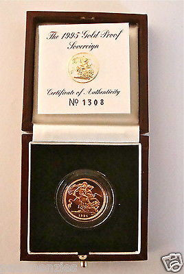1995 QUEEN ELIZABETH II GOLD FULL PROOF SOVEREIGN with BOX & COA
