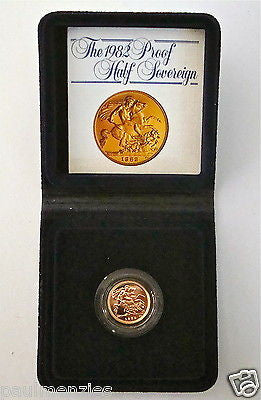 1982 ROYAL MINT ST GEORGE SOLID 22K GOLD PROOF HALF SOVEREIGN COIN BOX COA