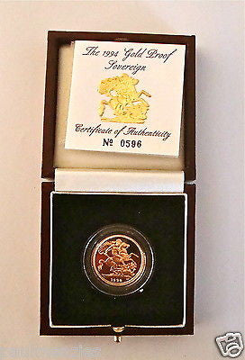 1994 QUEEN ELIZABETH II GOLD FULL PROOF SOVEREIGN with BOX & COA