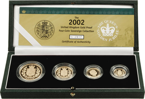 2002 QEII Golden Jubilee Four Coin Gold Proof Sovereign Set with Box and CoA