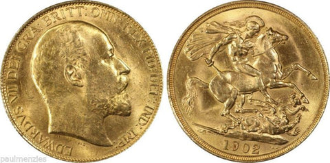 GREAT BRITAIN 1902  GOLD CURRENCY KING EDWARD VII TWO POUND PCGS MS63 S-3967