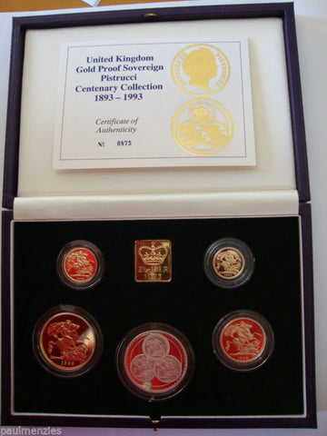1993 GOLD PROOF FIVE SOVEREIGN COIN PISTRUCCI CENTENARY COLLECTION GOLD & SILVER
