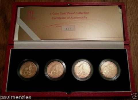 2002 ROYAL MINT XVII COMMONWEALTH GAMES £2 TWO POUND GOLD PROOF 4 COIN SET