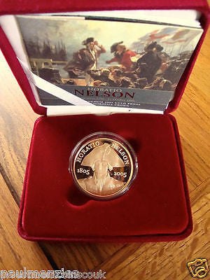 1758 - 2005 QE2 HORATIO NELSON PROOF GOLD FIVE POUND COMMEMORATIVE CROWN FDC
