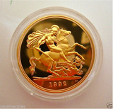 1992 ROYAL MINT ST GEORGE SOLID 22K GOLD PROOF HALF SOVEREIGN COIN BOX COA
